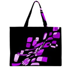 Purple Decorative Abstraction Zipper Large Tote Bag