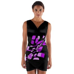 Purple decorative abstraction Wrap Front Bodycon Dress