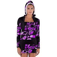 Purple decorative abstraction Women s Long Sleeve Hooded T-shirt