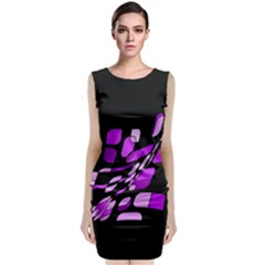 Purple Decorative Abstraction Classic Sleeveless Midi Dress