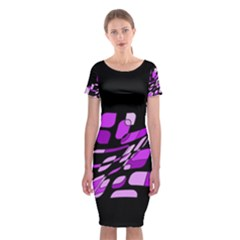Purple Decorative Abstraction Classic Short Sleeve Midi Dress
