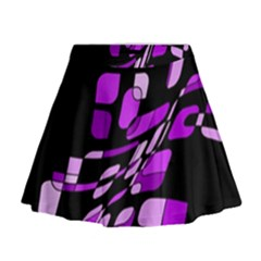 Purple Decorative Abstraction Mini Flare Skirt