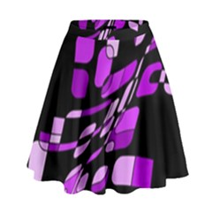 Purple Decorative Abstraction High Waist Skirt