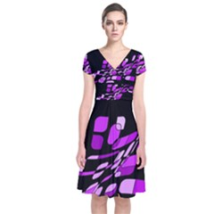 Purple Decorative Abstraction Short Sleeve Front Wrap Dress