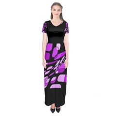 Purple Decorative Abstraction Short Sleeve Maxi Dress