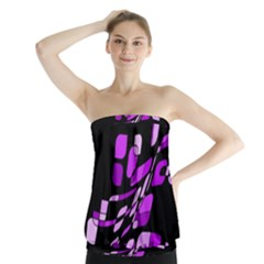 Purple Decorative Abstraction Strapless Top