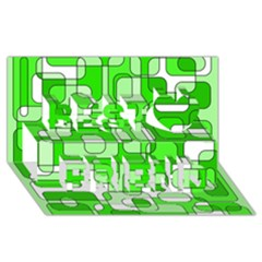 Green decorative abstraction  Best Friends 3D Greeting Card (8x4)