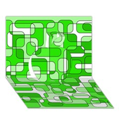 Green decorative abstraction  Apple 3D Greeting Card (7x5)