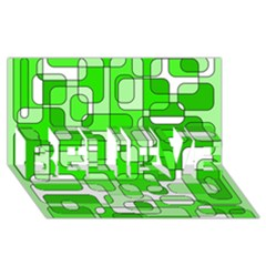 Green decorative abstraction  BELIEVE 3D Greeting Card (8x4)