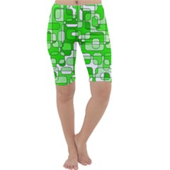 Green decorative abstraction  Cropped Leggings