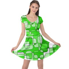 Green decorative abstraction  Cap Sleeve Dresses