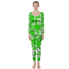 Green decorative abstraction  Long Sleeve Catsuit