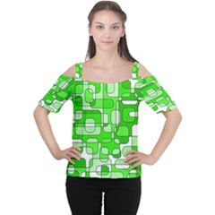Green Decorative Abstraction  Women s Cutout Shoulder Tee