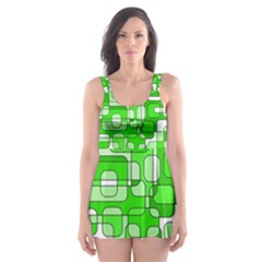 Green Decorative Abstraction  Skater Dress Swimsuit