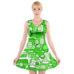 Green decorative abstraction  V-Neck Sleeveless Skater Dress