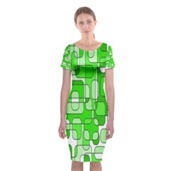 Green decorative abstraction  Classic Short Sleeve Midi Dress