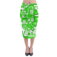 Green Decorative Abstraction  Midi Pencil Skirt