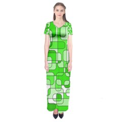 Green Decorative Abstraction  Short Sleeve Maxi Dress