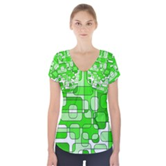 Green Decorative Abstraction  Short Sleeve Front Detail Top