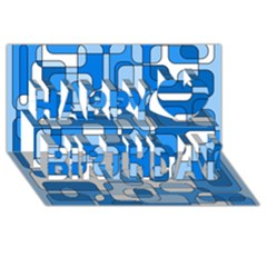 Blue decorative abstraction Happy Birthday 3D Greeting Card (8x4)