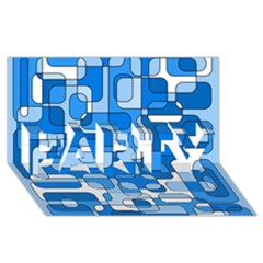 Blue decorative abstraction PARTY 3D Greeting Card (8x4)
