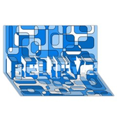 Blue Decorative Abstraction Believe 3d Greeting Card (8x4)