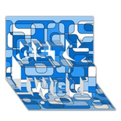 Blue Decorative Abstraction Get Well 3d Greeting Card (7x5)