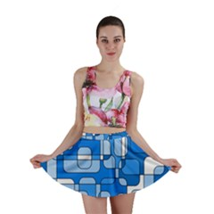 Blue decorative abstraction Mini Skirt