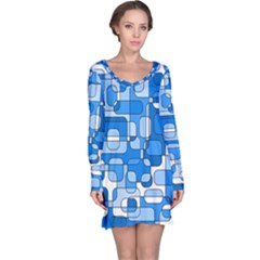 Blue decorative abstraction Long Sleeve Nightdress