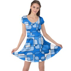 Blue decorative abstraction Cap Sleeve Dresses