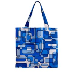 Blue decorative abstraction Zipper Grocery Tote Bag