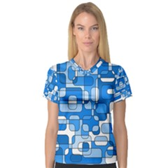 Blue decorative abstraction Women s V-Neck Sport Mesh Tee