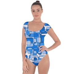 Blue decorative abstraction Short Sleeve Leotard