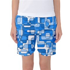 Blue Decorative Abstraction Women s Basketball Shorts