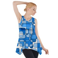 Blue Decorative Abstraction Side Drop Tank Tunic