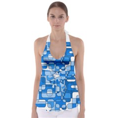Blue decorative abstraction Babydoll Tankini Top