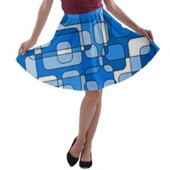 Blue decorative abstraction A-line Skater Skirt