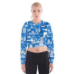Blue decorative abstraction Women s Cropped Sweatshirt