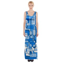 Blue Decorative Abstraction Maxi Thigh Split Dress
