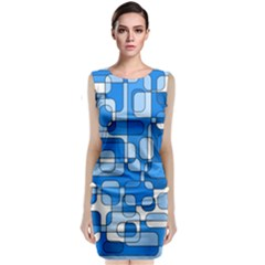 Blue Decorative Abstraction Classic Sleeveless Midi Dress