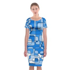 Blue Decorative Abstraction Classic Short Sleeve Midi Dress