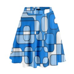 Blue decorative abstraction High Waist Skirt