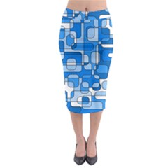 Blue Decorative Abstraction Midi Pencil Skirt