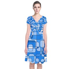 Blue Decorative Abstraction Short Sleeve Front Wrap Dress