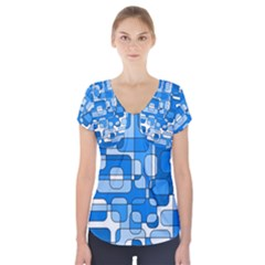 Blue Decorative Abstraction Short Sleeve Front Detail Top