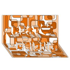 Orange decorative abstraction Best Friends 3D Greeting Card (8x4)
