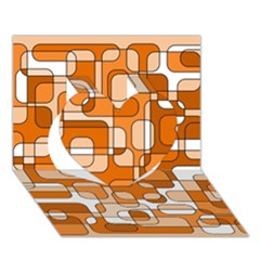 Orange decorative abstraction Heart 3D Greeting Card (7x5)