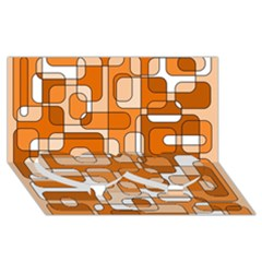 Orange decorative abstraction Twin Heart Bottom 3D Greeting Card (8x4)
