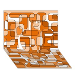 Orange Decorative Abstraction Apple 3d Greeting Card (7x5)