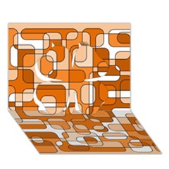 Orange decorative abstraction Clover 3D Greeting Card (7x5)